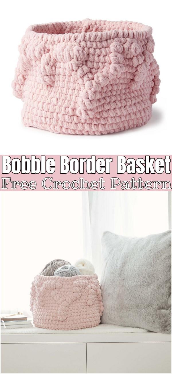 Free Crochet Bobble Border Basket Pattern