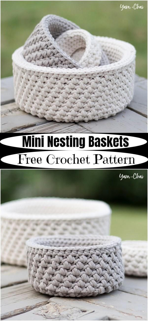 Free Crochet Mini Nesting Baskets Pattern