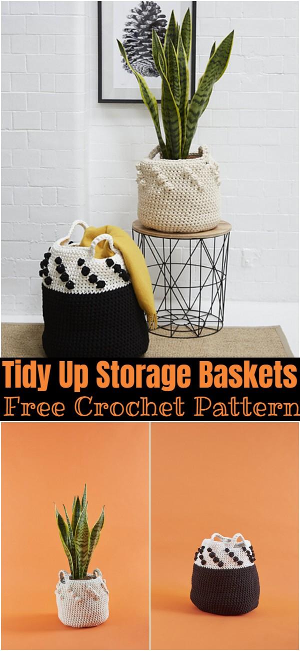 Free Crochet Tidy Up Storage Baskets Pattern
