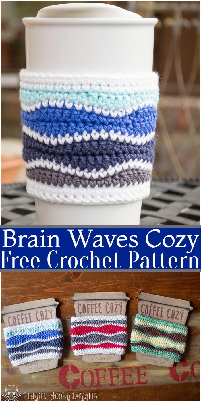 Crochet Brain Waves Coffee Cozy Pattern