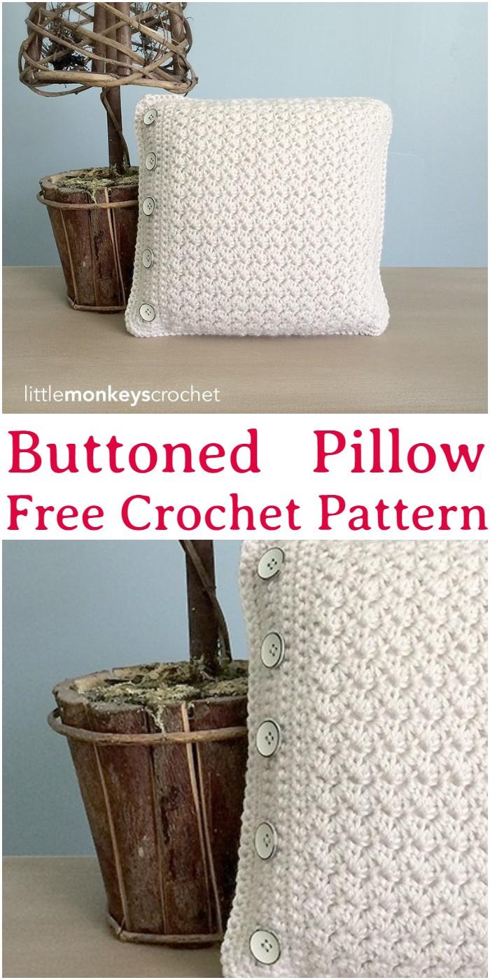Crochet Buttoned Pillow Pattern