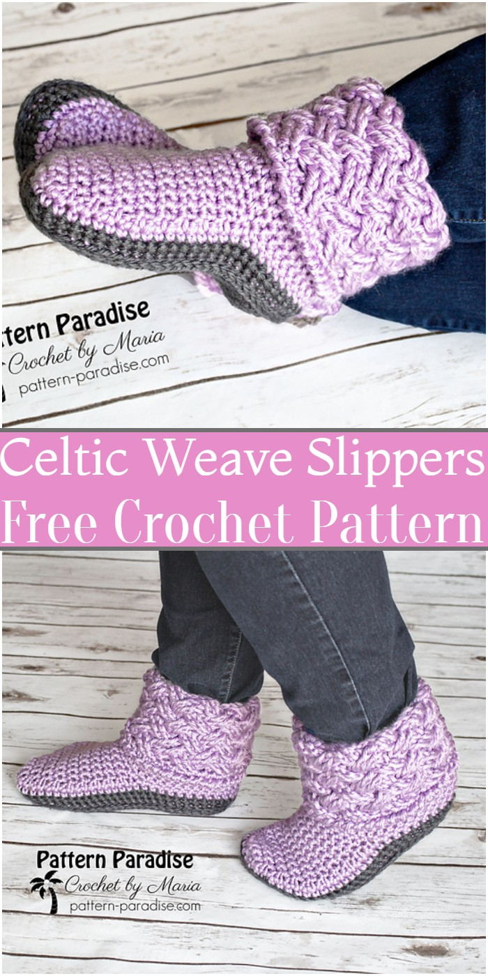 Crochet Celtic Weave Slippers Pattern