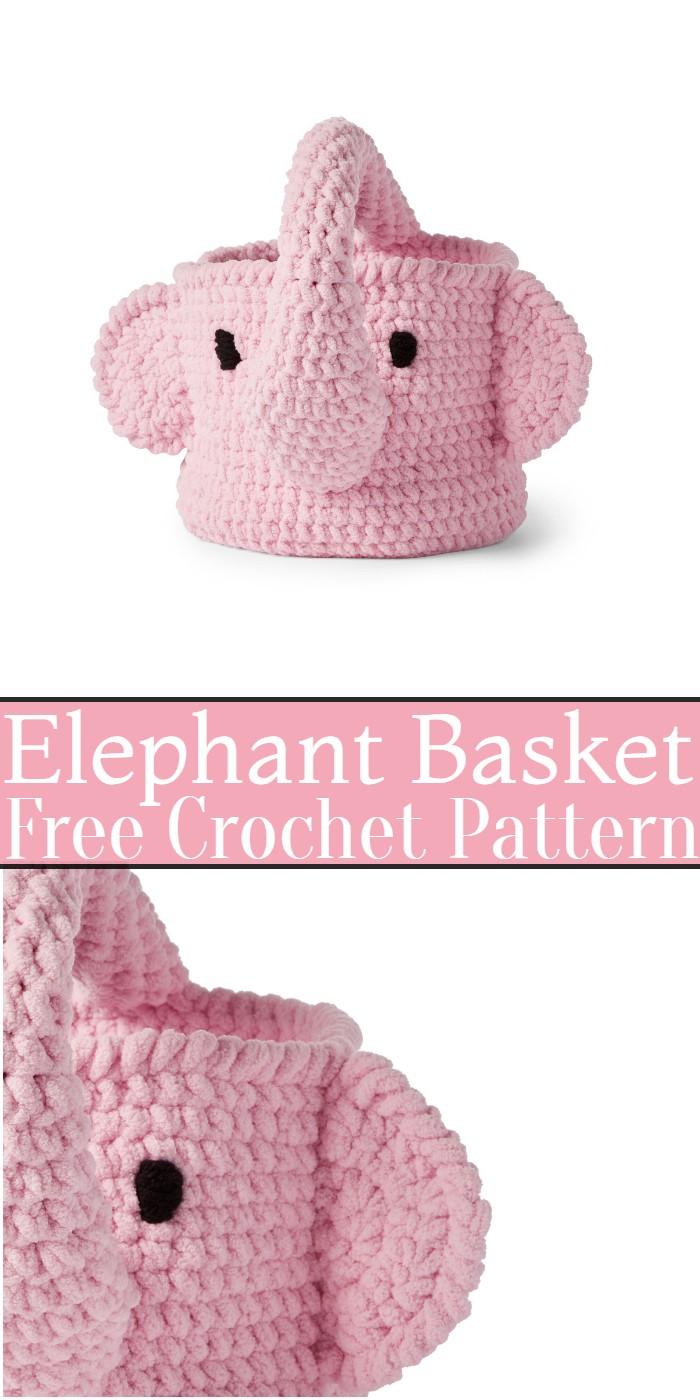 Crochet Elephant Basket Pattern
