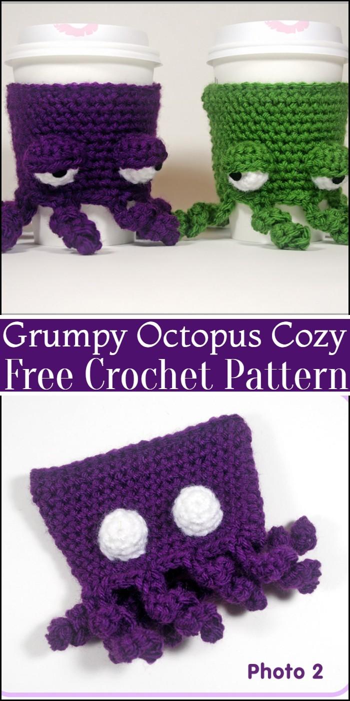 Crochet Grumpy Octopus Coffee Cup Cozy Pattern