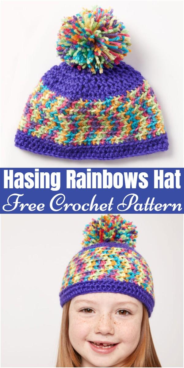 Crochet Hasing Rainbows Hat