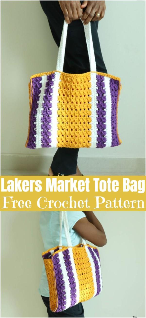 Crochet Lakers Market Tote Bag