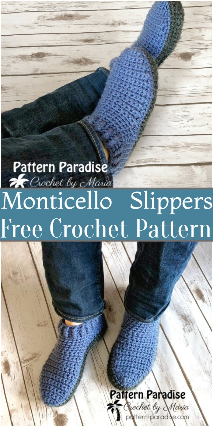 Crochet Monticello Slippers Pattern