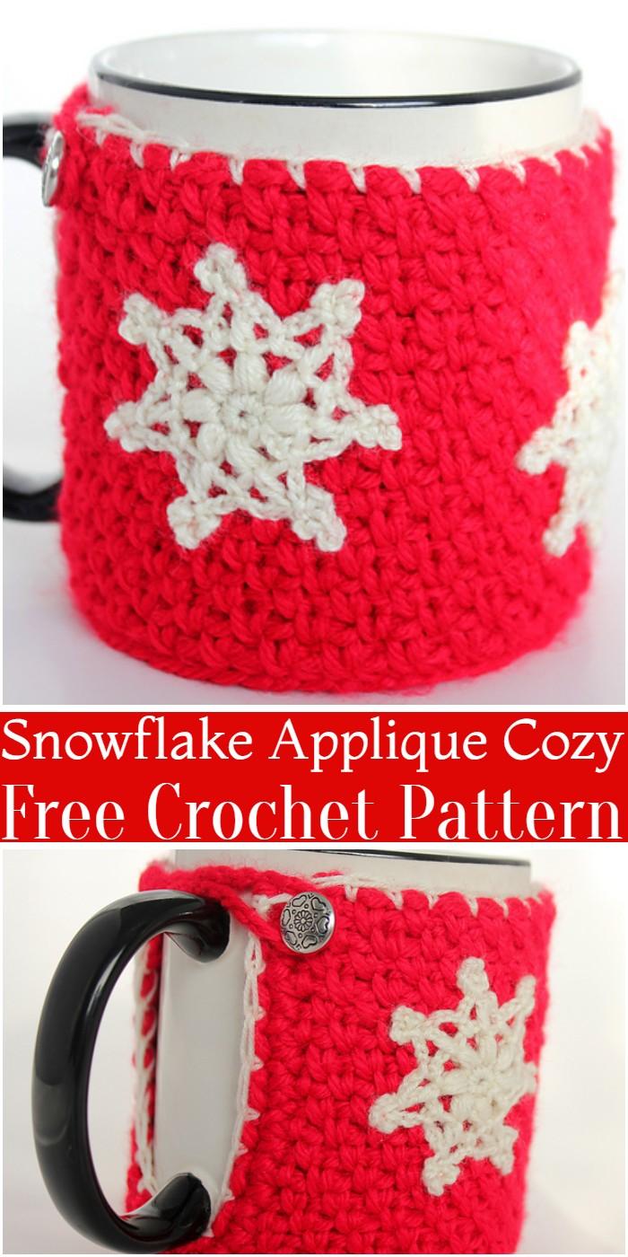 Crochet Mug Cozy With Snowflake Applique Pattern