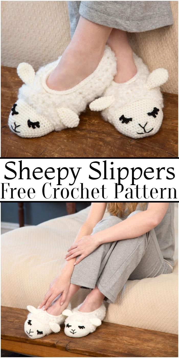 Crochet Sheepy Slippers Pattern
