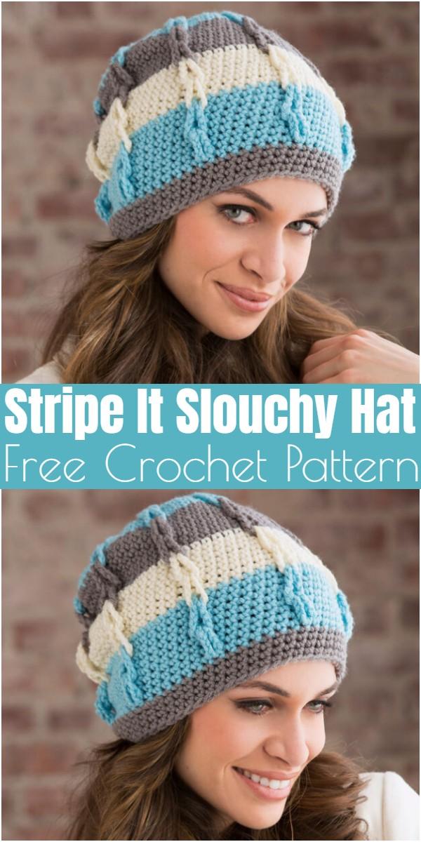 Crochet Stripe It Slouchy Hat