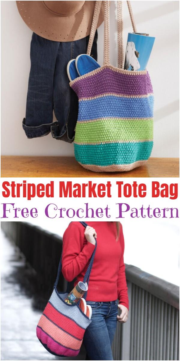 Crochet Striped Market Tote Bag