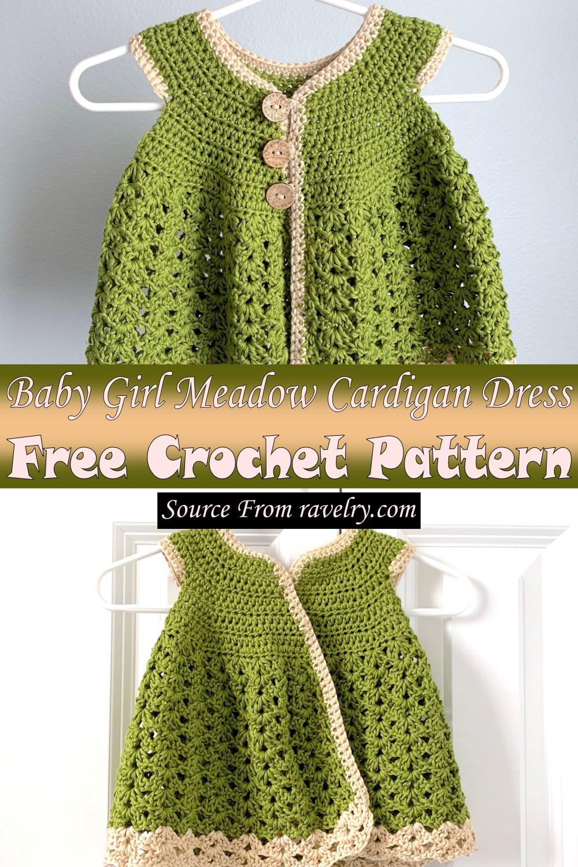 Free Crochet Baby Girl Meadow Cardigan Dress Pattern