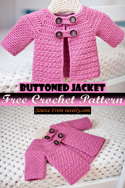 Free Crochet Buttoned Jacket Pattern