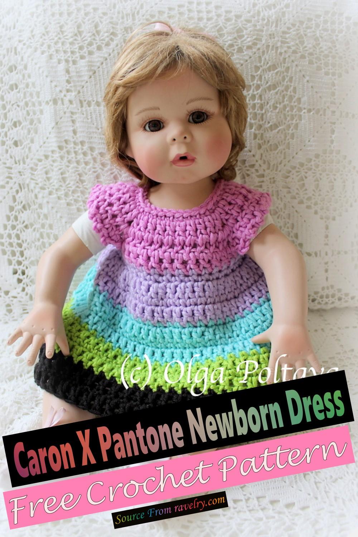 Free Crochet Caron X Pantone Newborn Dress Pattern