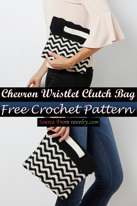 Free Crochet Chevron Wristlet Clutch Bag Pattern