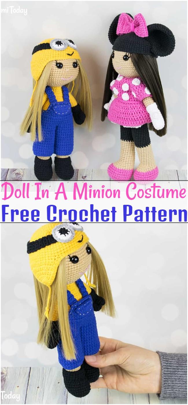 Free Crochet Doll In A Minion Costume Pattern