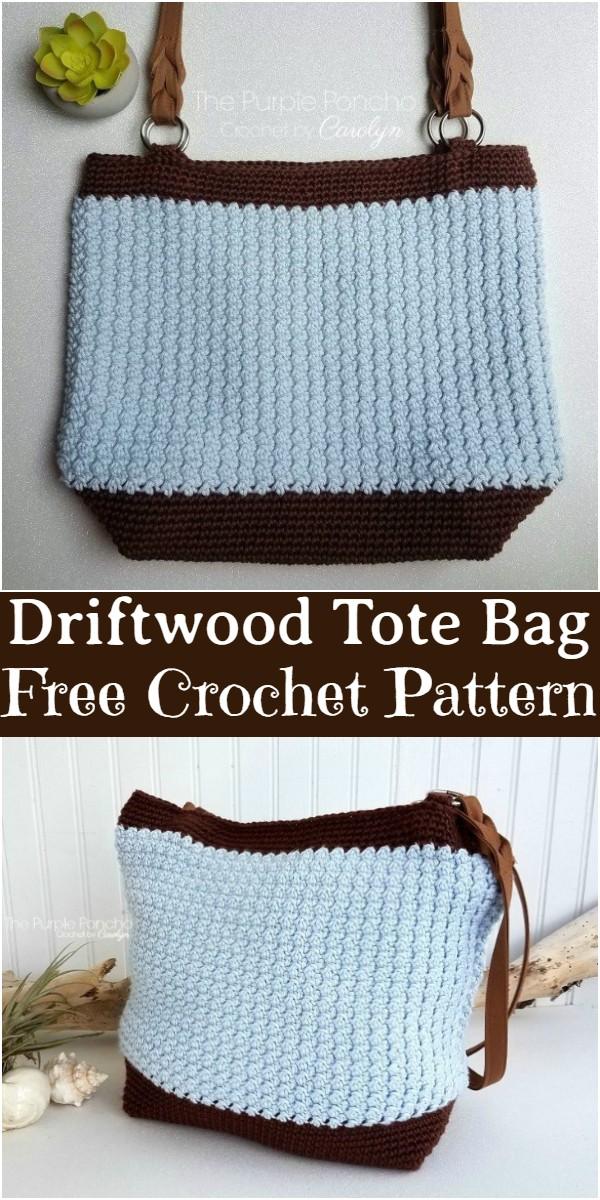 Free Crochet Driftwood Tote Bag Pattern