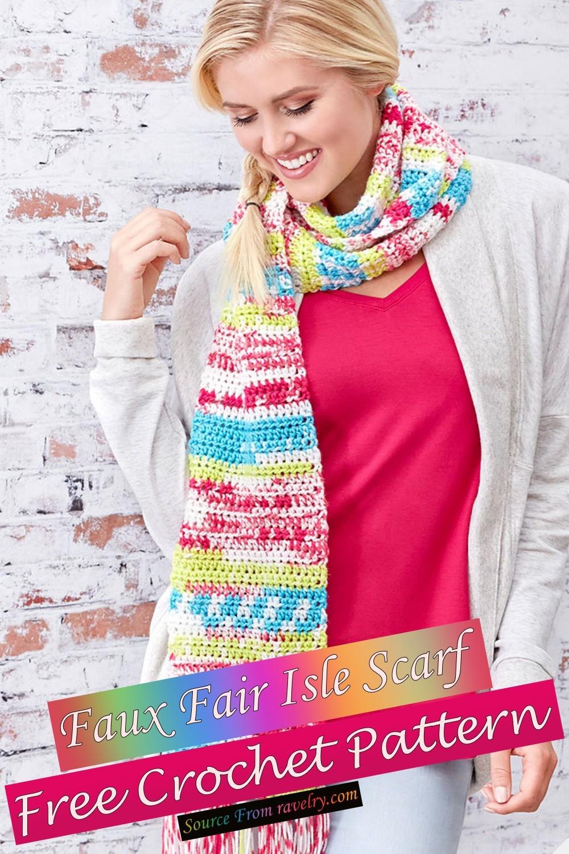Free Crochet Faux Fair Isle Scarf Pattern