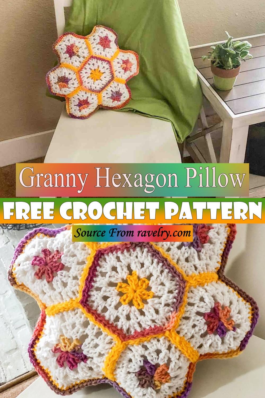 Free Crochet Granny Hexagon Pillow Pattern