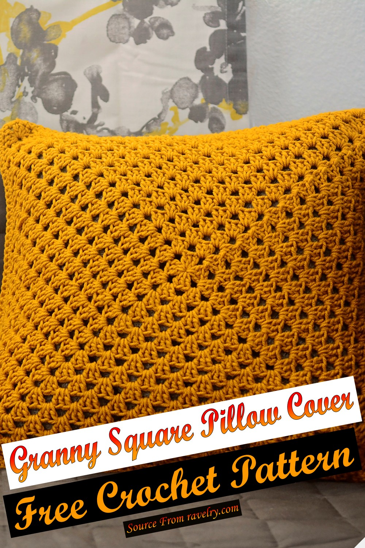 Free Crochet Granny Square Pillow Cover Pattern