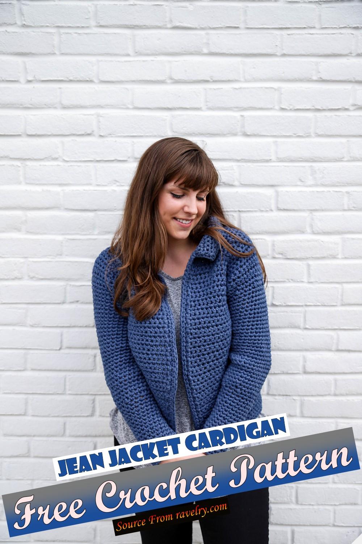 Free Crochet Jean Jacket Cardigan Pattern