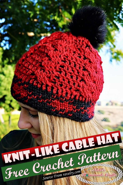 Free Crochet Knit-like Cable Hat Pattern
