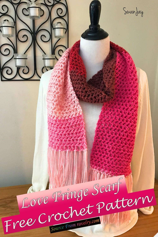 Free Crochet Love Fringe Scarf Pattern