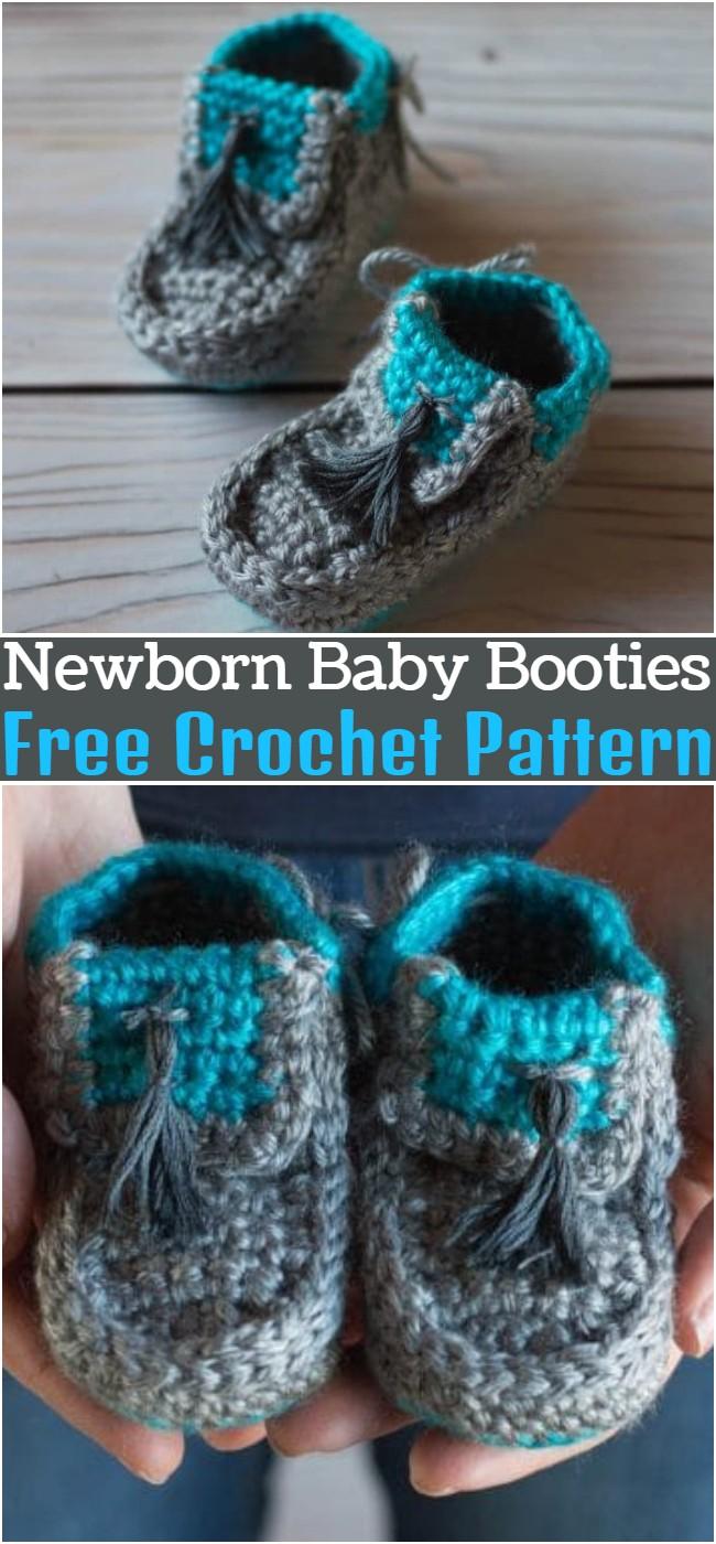 Free Crochet Newborn Baby Booties Pattern