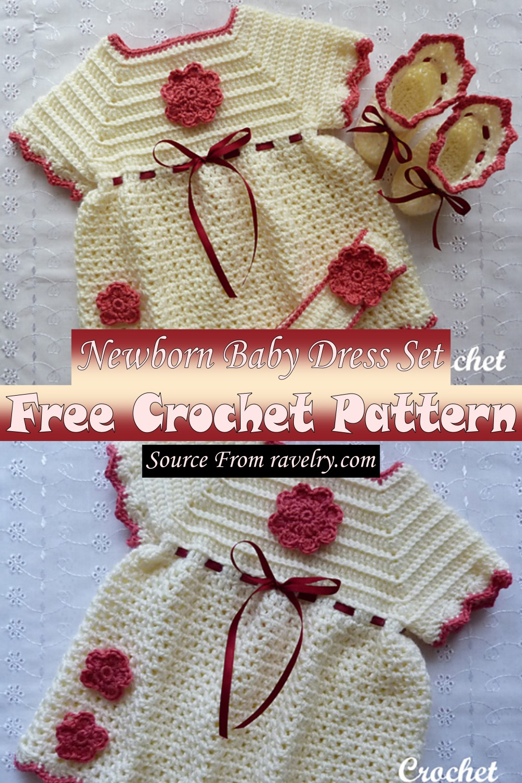 Free Crochet Newborn Baby Dress Set Pattern