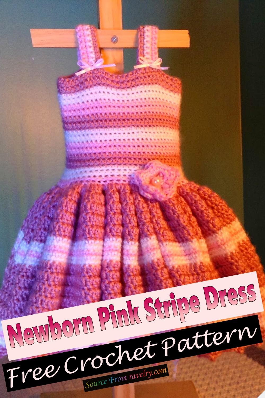 Free Crochet Newborn Pink Stripe Dress Pattern