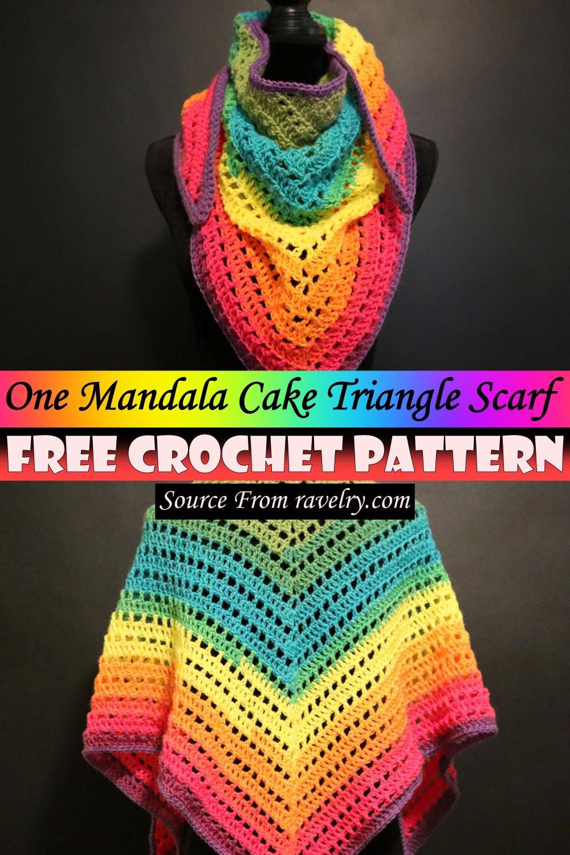 Free Crochet One Mandala Cake Triangle Scarf Pattern