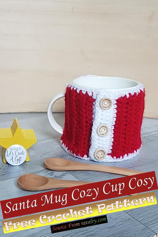 Free Crochet Santa Mug Cozy Cup Cosy Pattern