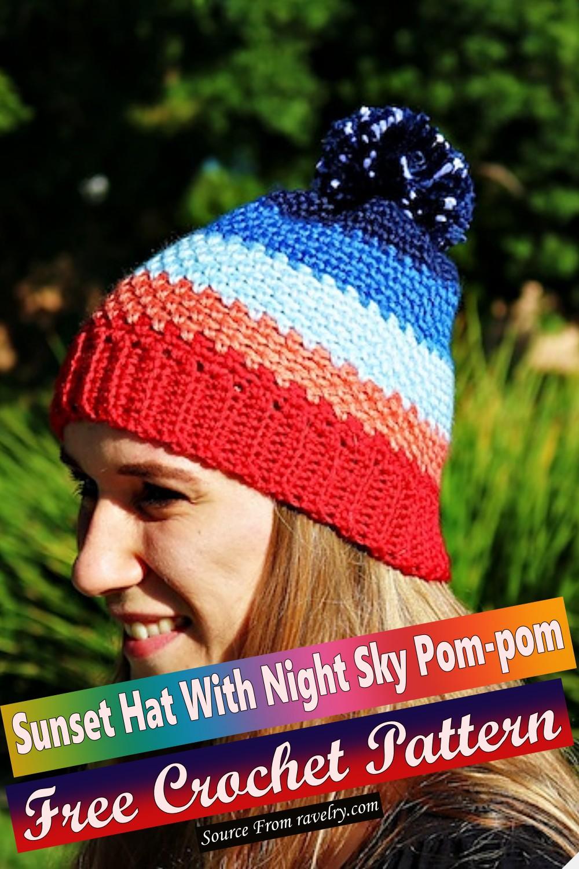 Free Crochet Sunset Hat With Night Sky Pom-pom Pattern