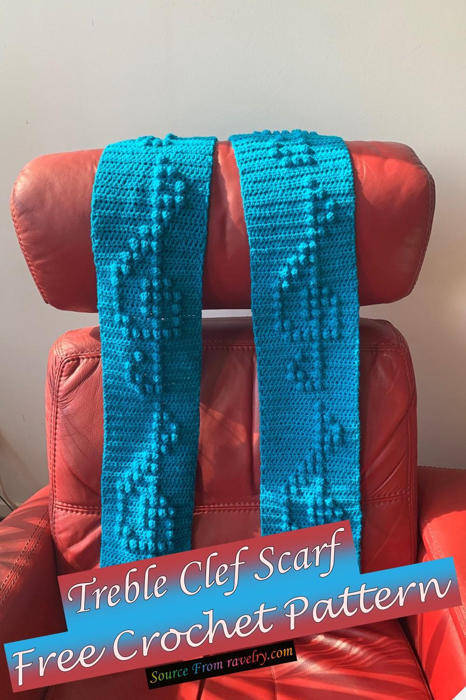 Free Crochet Treble Clef Scarf Pattern