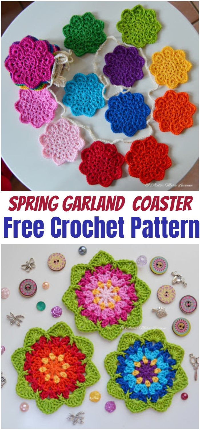 Spring Garland with Crochet Coaster