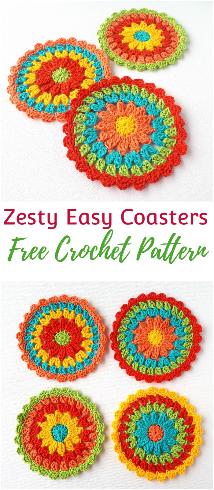 Zesty Coasters – Easy Free Crochet Pattern