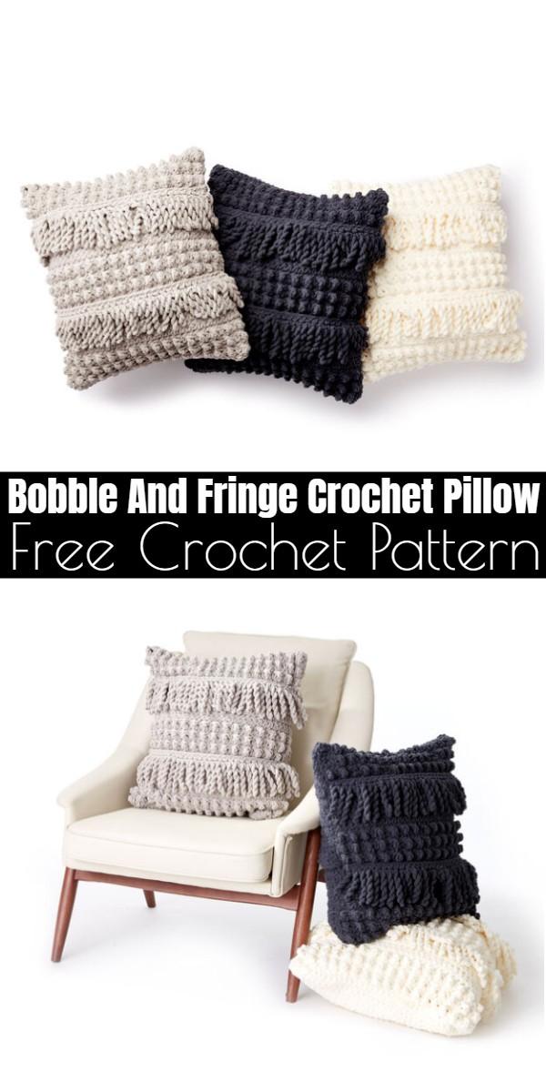 Bobble And Fringe Crochet Pillow