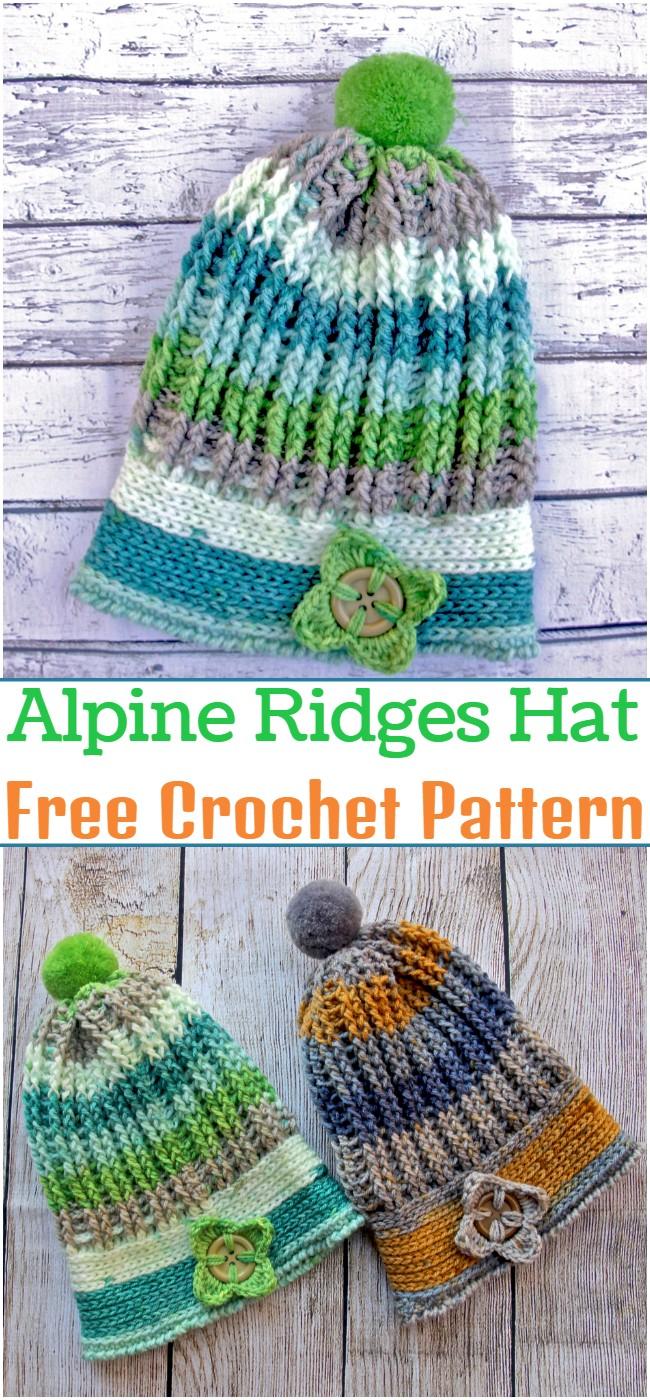 Crochet Alpine Ridges Hat Pattern