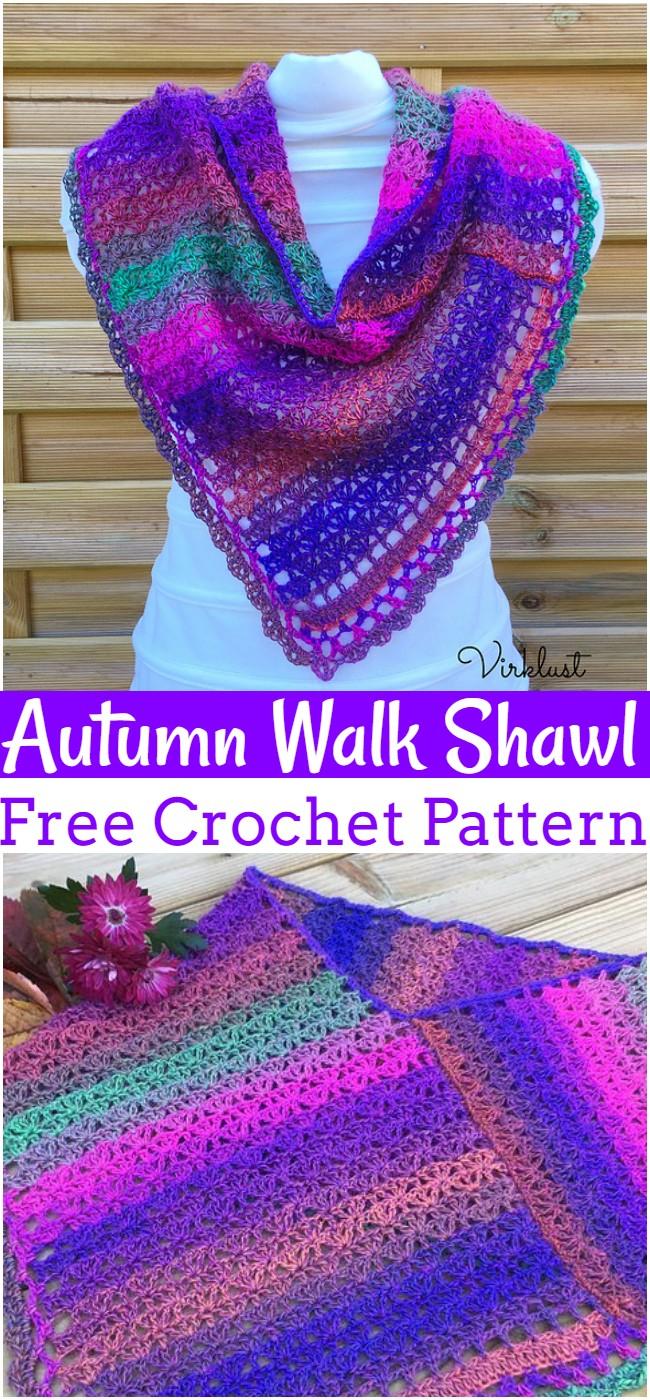 Crochet Autumn Walk Shawl Pattern