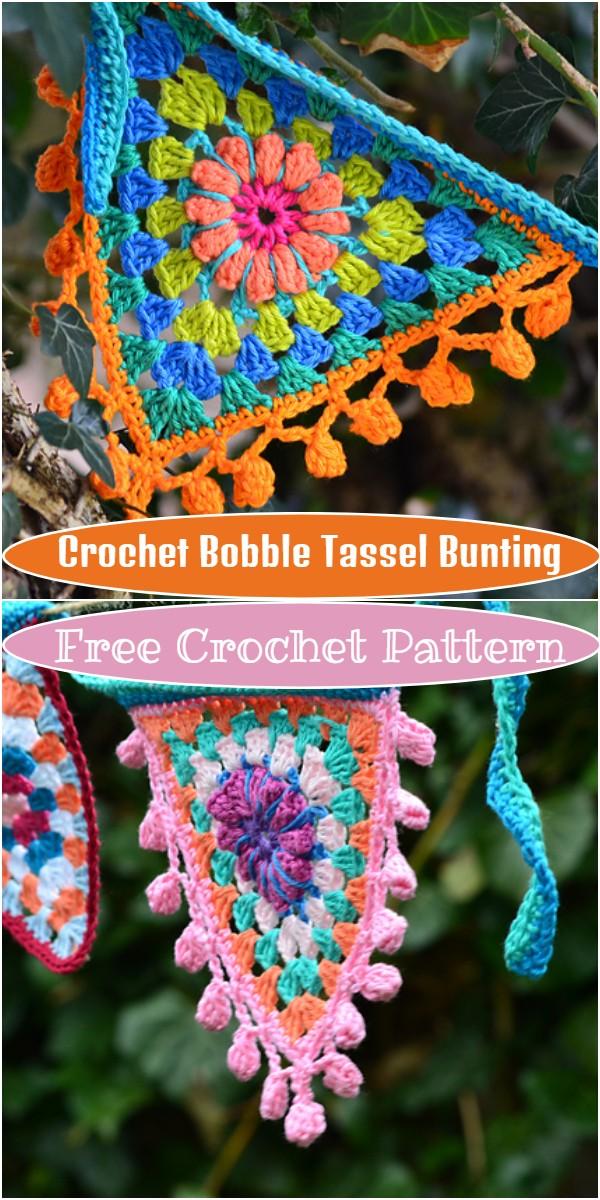Crochet Bobble Tassel Bunting