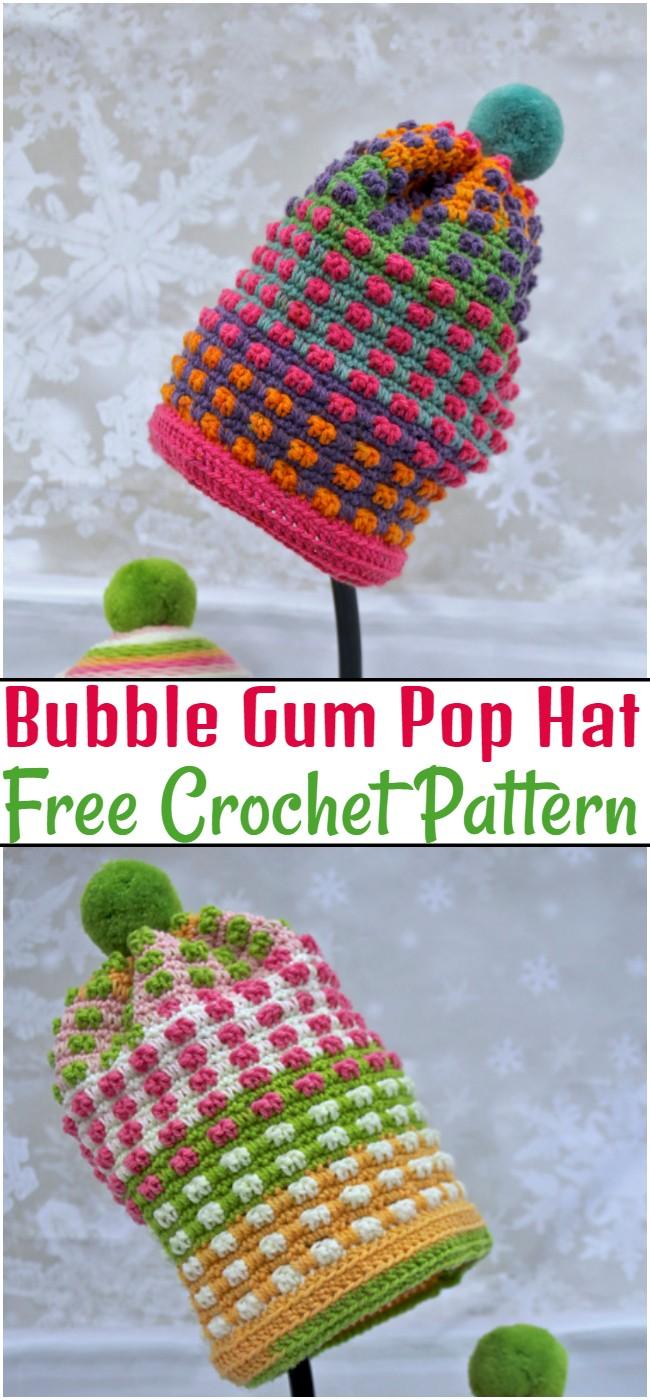 Crochet Bubble Gum Pop Hat Pattern
