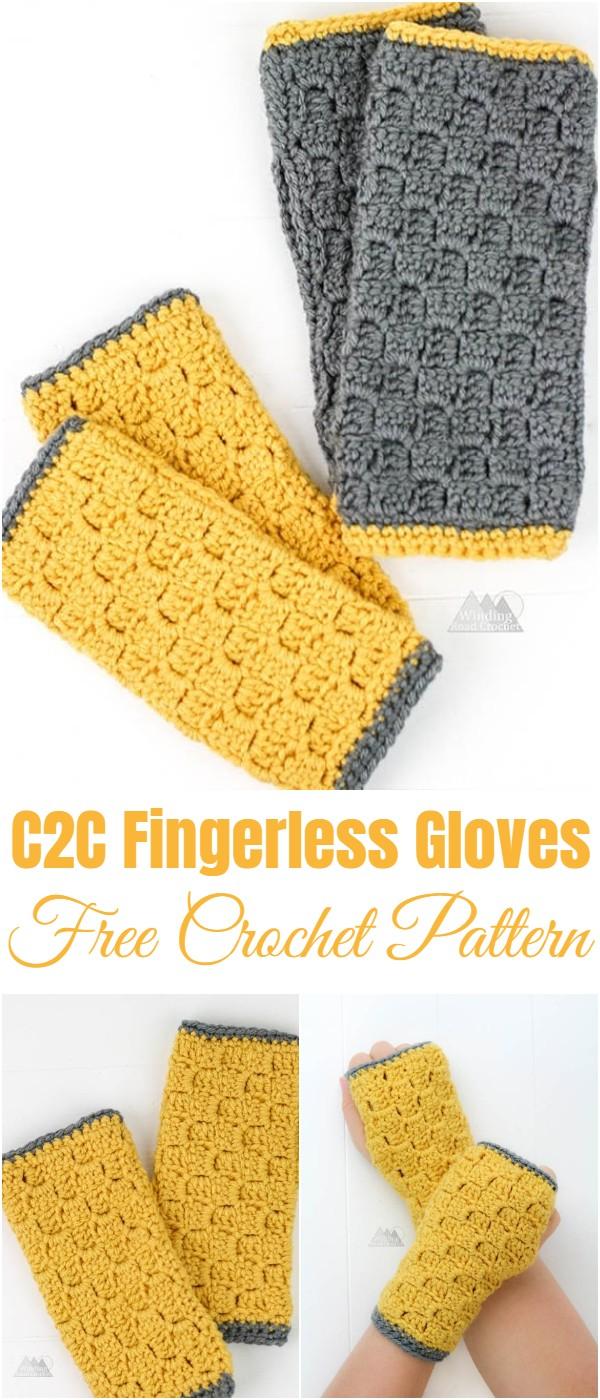 Crochet C2C Fingerless Gloves Pattern