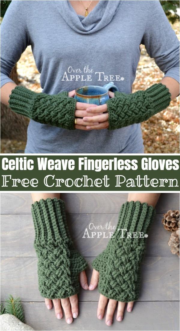 Crochet Celtic Weave Fingerless Gloves