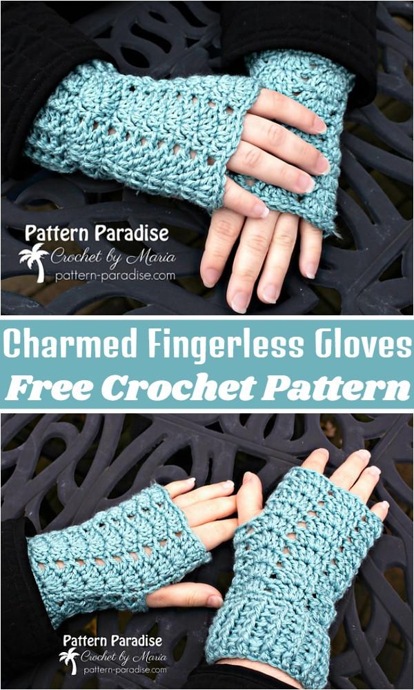 Crochet Charmed Fingerless Gloves