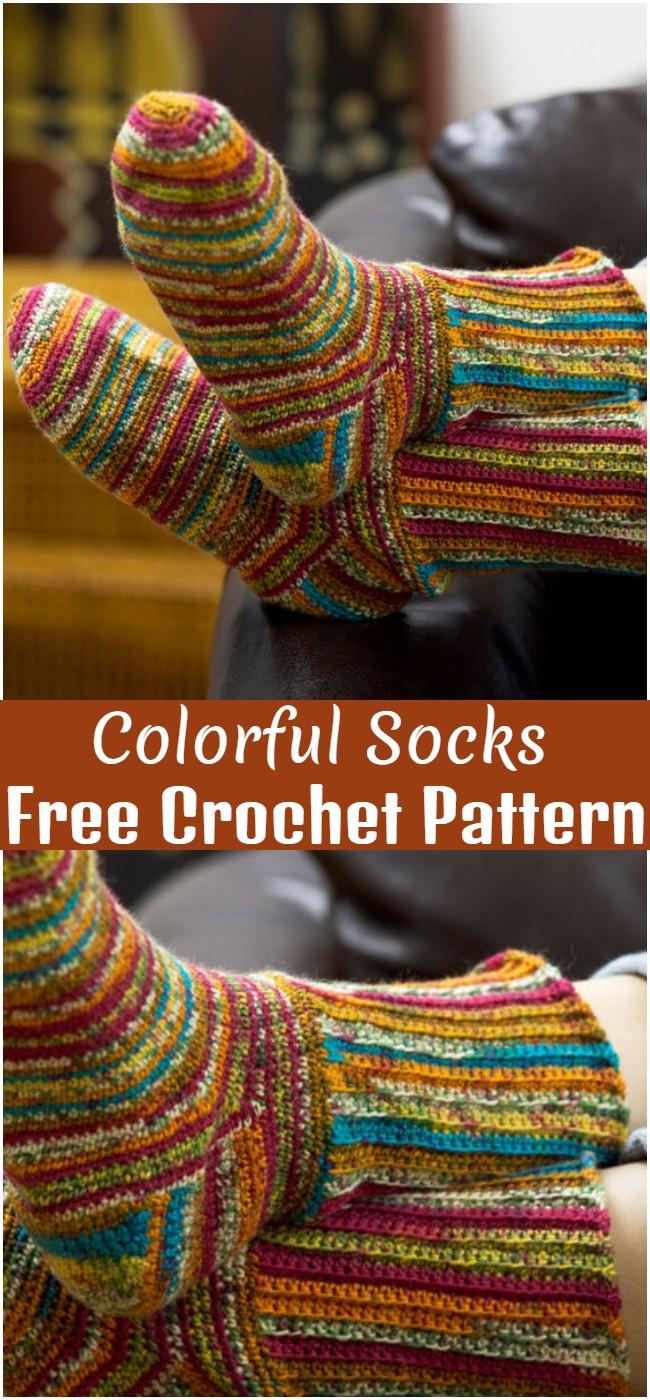 Crochet Colorful Socks Pattern