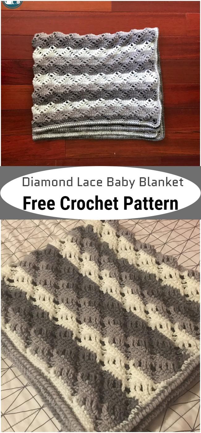 Crochet Diamond Lace Baby Blanket Pattern