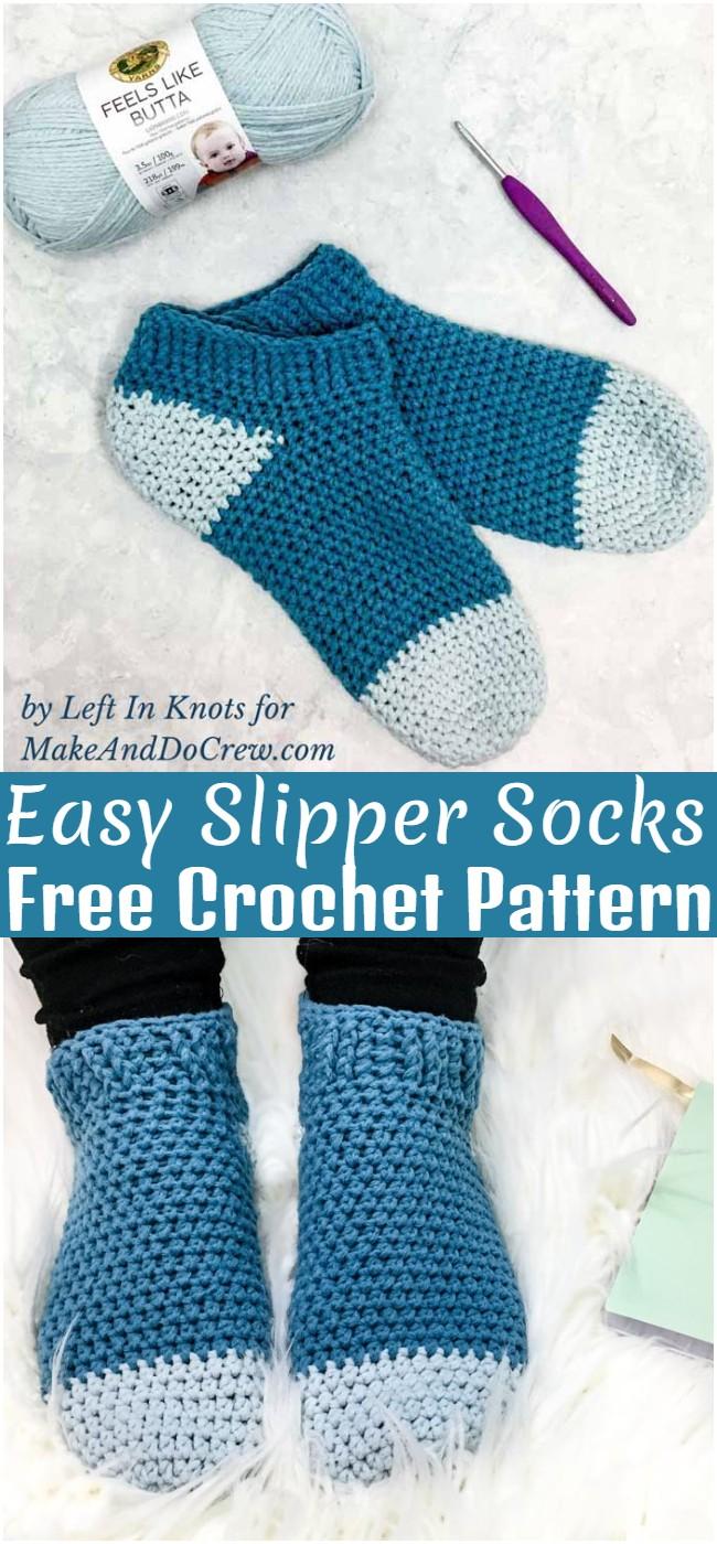 Crochet Easy Slipper Socks Pattern