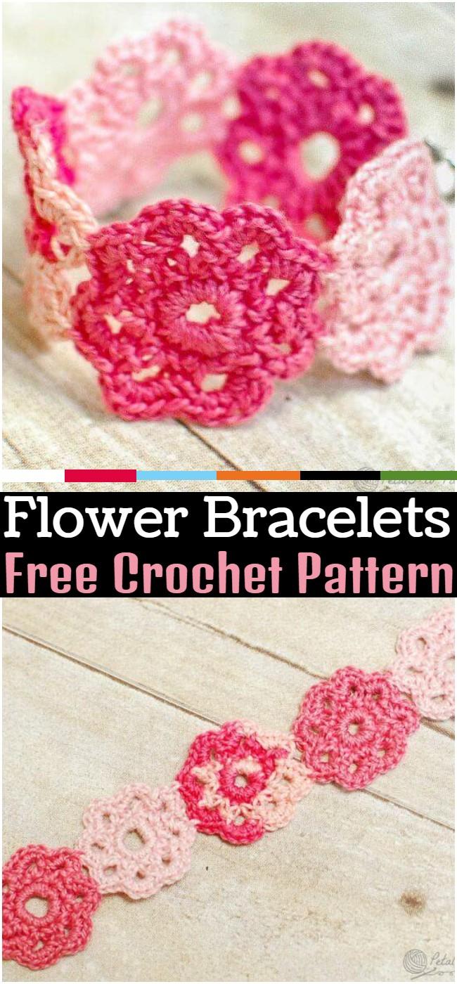 Crochet Flower Bracelets Pattern