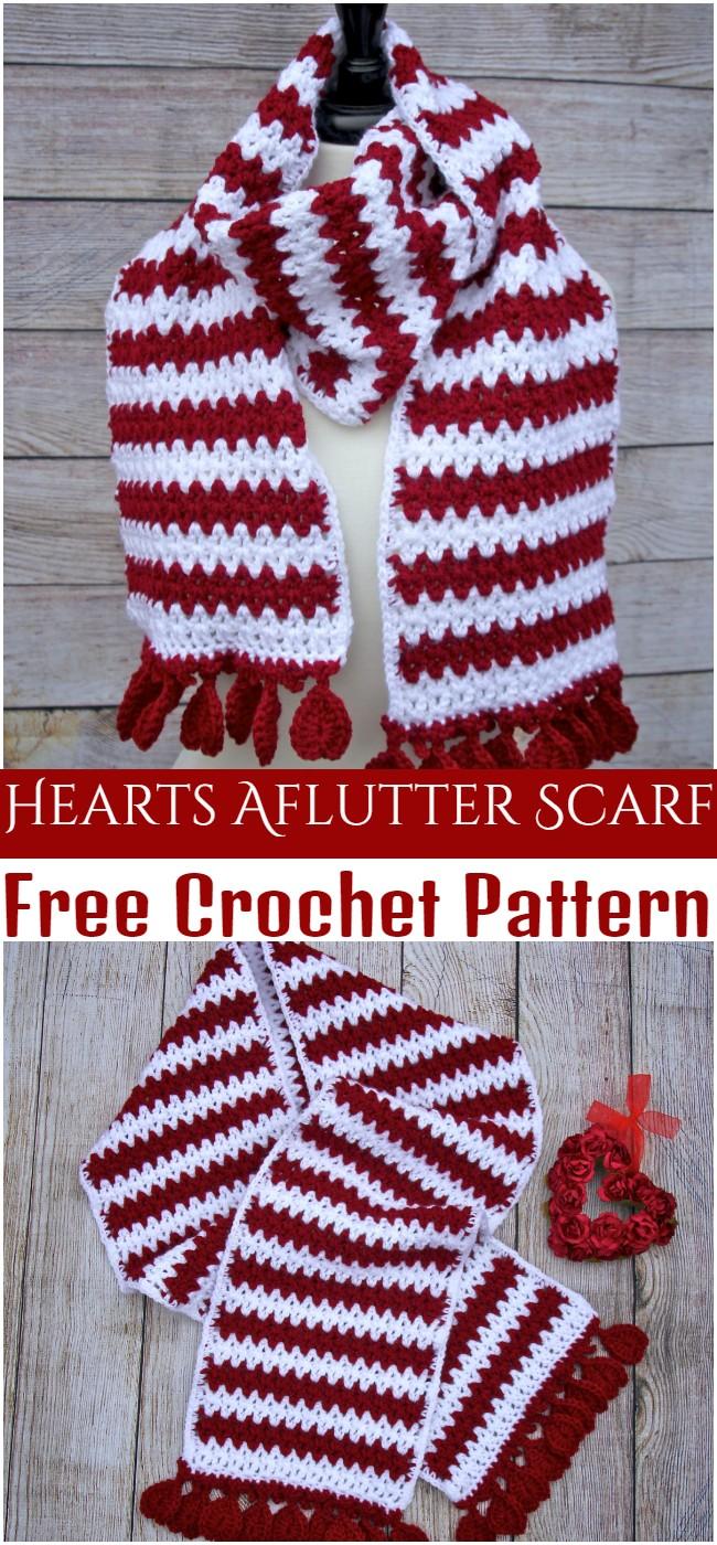 Crochet Hearts Aflutter Scarf Pattern
