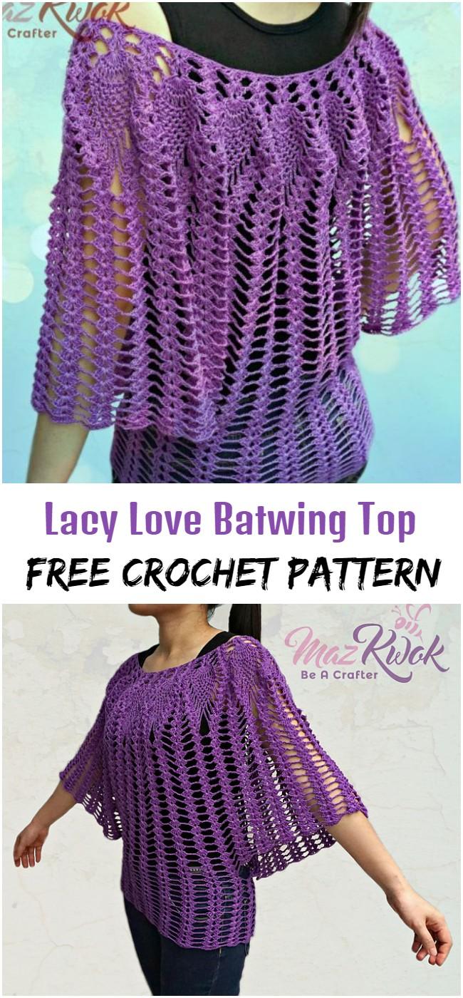 Crochet Lacy Love Batwing Top Pattern